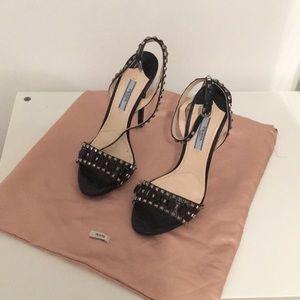 Prada Sandals Jeweled leather Black